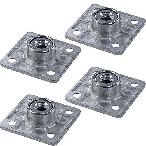 Gedotec Befestigungsplatte Anschraubplatte für Verstellfüße - Regulierschrauben - Möbelfüße | Platte eckig mit M8 Gewinde | Tischbein-Verbinder Stahl verzinkt | 4 Stück - Montageplatten zum Schrauben