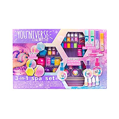 3-in-1 Spa Craft Set - Science Meets Style Creating Sparkling Perfumes, Lava Lip Gloss and 6 Bath Bombs by Youniverse
