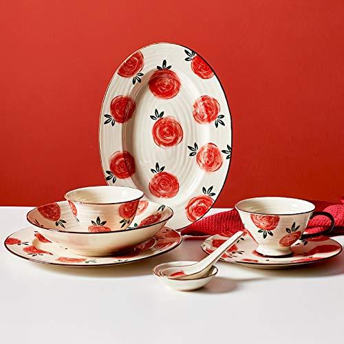 Juegos De Vajillas De Porcelana, 51 piezas Juego de vajilla de porcelana Retro Garden Rose | Juego de cuenco de cereal y plato de carne de hilo para regalo de inauguración de la casa de boda
