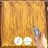 Cortina de luces, 3 m x 3,3 m, 300 luces LED, cortina de cascada USB, 8 modos con mando a distancia, resistente al agua, luces de pared, cortinas de interior para fiestas, dormitorio