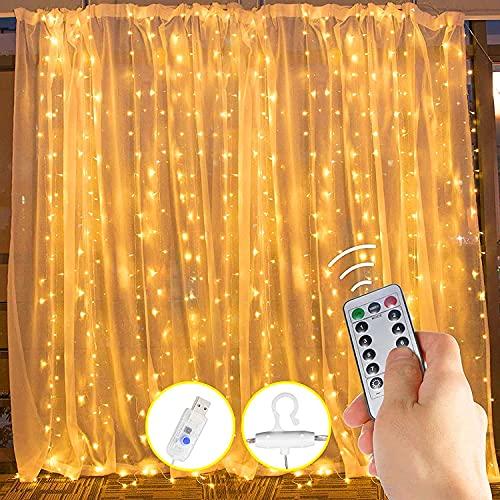 Cortina de luces, 3 m x 3,3 m, 330 luces LED, cortina de cascada USB, 8 modos con mando a distancia, resistente al agua, luces de pared, cortinas de interior para fiestas, dormitorio