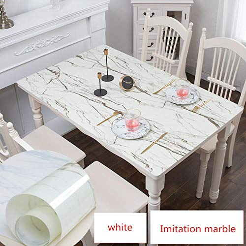 Viner tafelkleed imitatie marmeren tafelmat placemat waterdicht oliebestendig voor eettafel aanpassen salontafelkleed bureauhoes, wit, 90x180cm