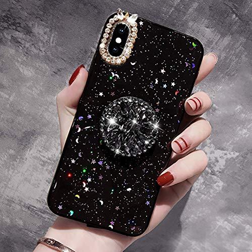 Kompatibel mit iPhone X Hülle,iPhone XS Hülle Glänzend Glitzer Kristall Strass Diamant TPU Silikon Hülle Tasche Handyhülle Schutzhülle mit Ring Halter Ständer für iPhone X/XS Case Cover,Schwarz