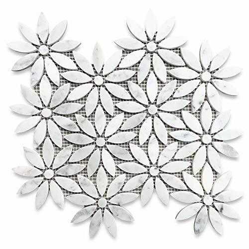 Stone Center Online Carrara White Italian Carrera Marble Daisy Field Flower Water Jet Mosaic Tile Honed Venato Bianco Bathroom Kitchen Wall Floor Tile