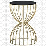 Elle Decor Cami Round Metal Side Table, Hourglass Shape, Modern Accent Nightstand for Living Room, 15' Wide, Gold/Black