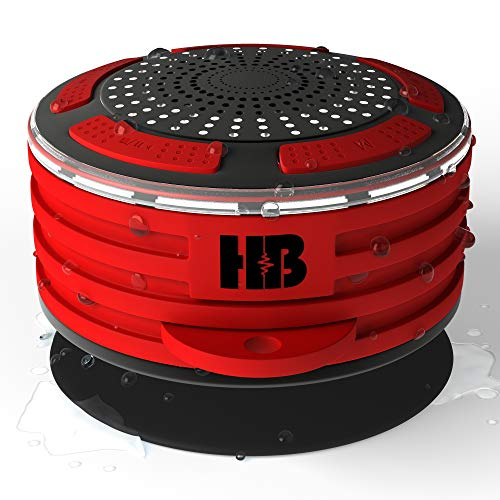 HB Illumination – Portable Bluetooth Waterproof Shower Radio – IPX7 Waterproof, Shockproof and Dustproof – Dynamic Surround Sound with Deep Powerful Bass. Bluetooth 4.0 and FM Radio. (Red)