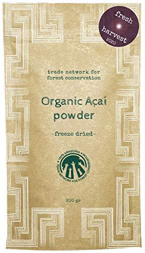 100% Amazonia Puur Acai poeder Bio | vers extract van de Acai bessen (rauwkost) | vriesgedroogd | vervoerd door het Aryiamuru project | composteerbare verpakkingen - MHD 22/04/2022 (200 g)