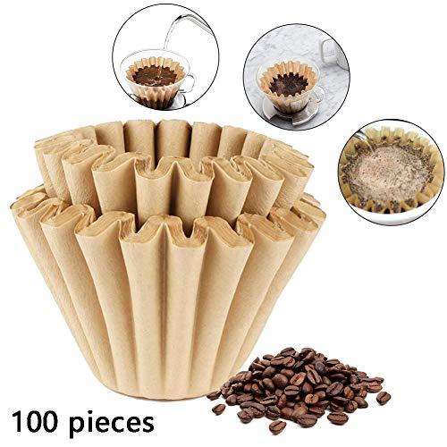 Romote Kaffeefilter Kegel Papier Korb Kaffeefilter Natur Brown Biodegradable Basket Filter Papier Unbleached Für Kaffeefilter Blumen (1-2 Tassen)