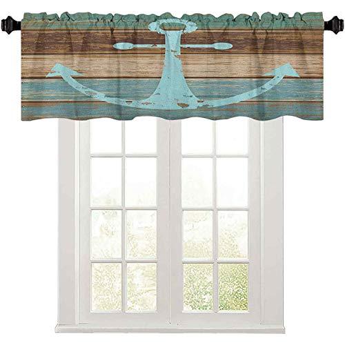 "Kitchen Window Valance, Timeworn Marine Symbol on Weathered Wooden Planks Rustic Nautical Theme, 36"" W x 18"" L Room Darkening Valances for Kitchen Windows, Pale Blue Brown Teal"