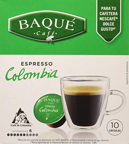 Cafés Baqué 10 Capsulas Compatibles Dolce Gusto Espresso Colombia 70 g