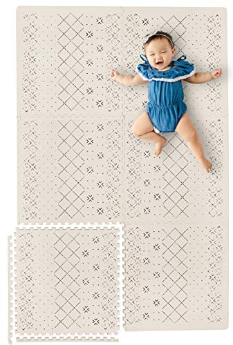 Yay Mats Stylish Extra Large Baby Play Mat Soft Thick NonToxic Foam Covers 6 ft x 4 ft Expandable Tiles with Edges Infants and Kids Playmat Tummy Time Mat Carter Mudcloth Tan