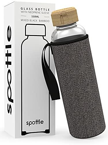 spottle botella de agua cristal en 500ml, 750ml y 1 litro con funda / Botella de Agua de Vidrio Reutilizable - 100% sin BPA (Negro moteado / Bambú, 750ml)