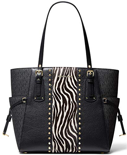 "Contrast slip pockets further define the classic-chic style of an upright and well-organized MICHAEL Michael Kors tote in signature MK faux leather and wild animal stripe. 14-3/4""W x 11""H x 6-1/4""D (width is measured across the bottom of handbag); 2...."