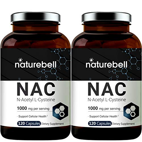2 Pack NAC Supplements and NAC Sustain (N-Acetyl L-Cysteine), 1000mg Per Serving, 120 Capsules, Strongly Support Liver Function, Lung Health and Detox, Non-GMO