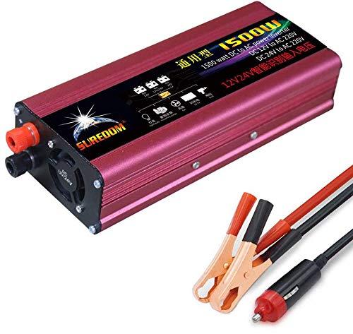 Inversor De Corriente (Pico 3000W), Inversor Onda Pura 1500W-12V / 24V A 220V / 110V Convertidor De Voltaje Del VehíCulo Con Puerto USB, Conectar Directamente A La BateríA Del AutomóVil,12V-220V