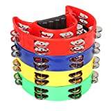 4 Pack 9' Half Moon Musical Tambourine Metal Jingles Hand Held Percussion Drum - Double Row, Plastic Musical Percussion Tambourines Music Rhythm Toys for Kids & Adults (Multicolor)