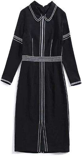 WLFCMJ Printemps Manches Neuf Revers Corps féminin Couleur Unie Fourche Longue Une Robe de Mot Noir Code S
