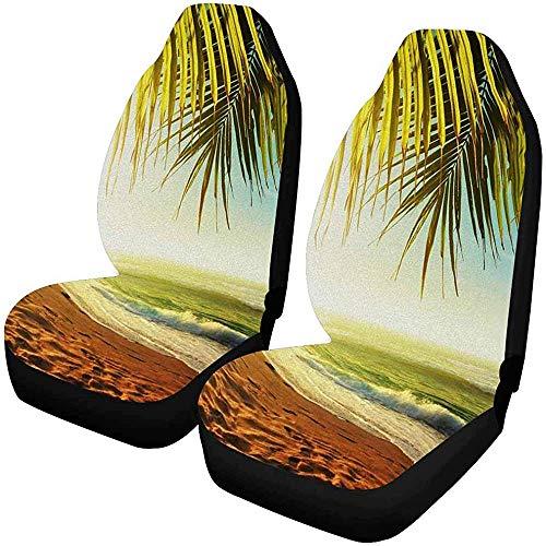 Tropical Zonsondergang op het strand autostoelovertrek voor voorstoelen, complete set met 2 stoelkussens voor autostoel, kuipstoel, 14-17 inch