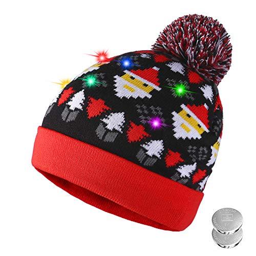 TAGVO Sombrero LED Light Up Sombrero Beanie Gorro, 6 Sombrero Colorido LED Christmas Christmas Hat, Sombrero de...