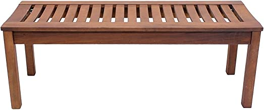 backless teak garden bench