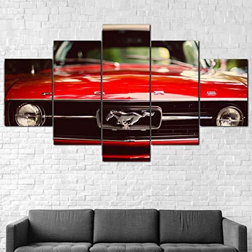 Cuadros Decoracion Salon De La Pared Vehículo Mustang Rojo 5 Paneles Decoración para El Hogar Mural Pintura Moderna Arte Carteles Paisaje Sala De Estar con Marco (150x80cm)
