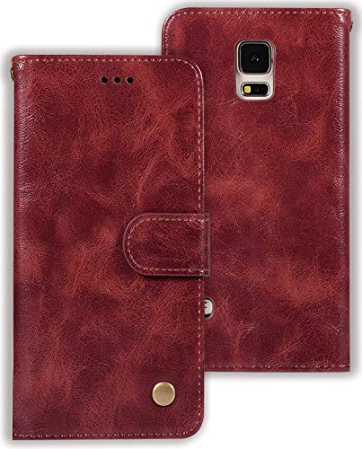 Zoeirc Galaxy S5 Case, Samsung S5 Wallet Case, PU Leather Wallet Flip Protective Phone Case Cover with Card Slots for Samsung Galaxy S5 (Wine red)