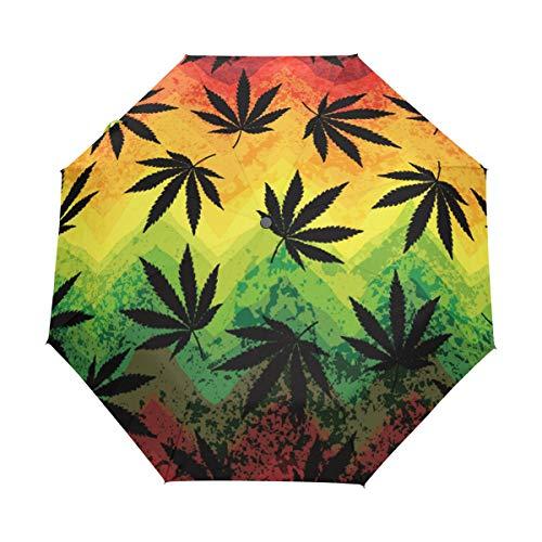 Hunihuni - Paraguas Plegable de Apertura automática con diseño de Hojas de Marihuana, Resistente al Viento, Resistente al Agua, protección contra Rayos UV, Paraguas