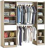 habeig RIESIGER Kleiderschrank #5077 begehbar offen Garderobe Schrank Regal Schublade (Weiß +...