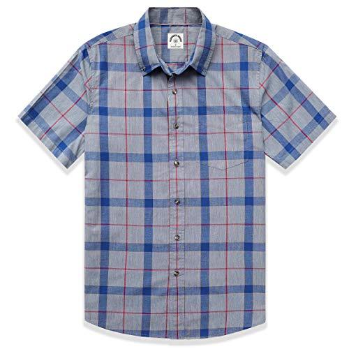 Dubinik - Camisa de manga corta a cuadros para hombre, con botones, de algodón, de estilo informal y de corte recto, con dos bolsillos