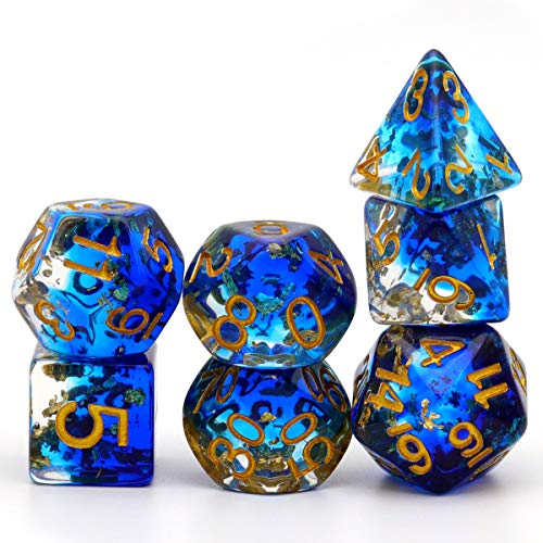 PJOY Resin DND Dice Set Blue Polyhedral D&D Dragon Dice for Dungeons and Dragons Pathfinder Shadowrun Role Playing Games-Navy Blue Clear Gold Flakes