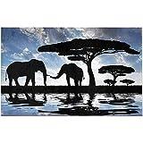 JHDF Silueta de Elefantes sobre la Puesta de Sol en la Sabana Alfombra de baño Antideslizante Alfombra de Ducha Absorbente Alfombras de baño para bañera Bañera Decoración para el hogar