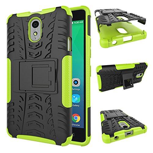 TiHen Handyhülle für Lenovo Vibe P1M Hülle, 360 Grad Ganzkörper Schutzhülle + Panzerglas Schutzfolie 2 Stück Stoßfest zhülle Handys Tasche Bumper Hülle Cover Skin mit Ständer -Grün