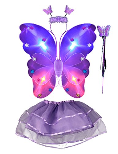 THEE Girls Butterfly Angel Wing Costume Set Stage Props Halloween Costume, Purple, one size