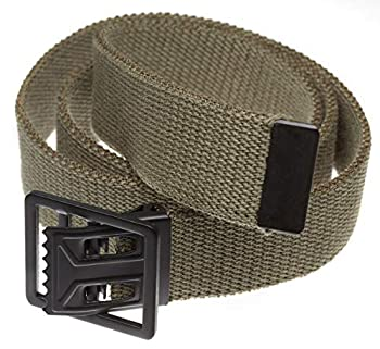 Jackster Belt Military Grade Cotton Webbing Belt with Black Open Face Military Belt Buckle Adjustable  Olive