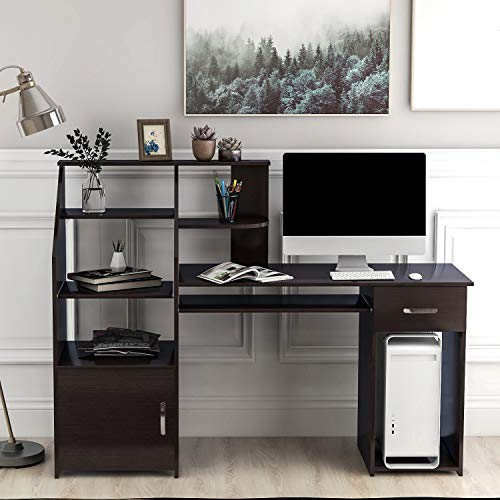 Merax Computer Desk with Cabinet,Home Office Desk, Computer Workstation, Study Writing Desk with Storage Drawer and Pull-Out Keyboard Tray, Black Coffe