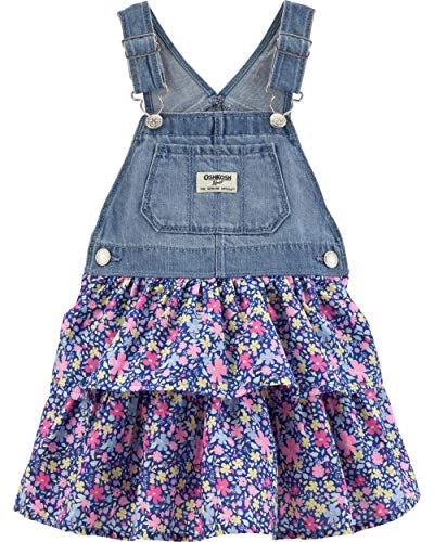 OshKosh B'Gosh Baby Girls World's Best Overalls, Floral poplin Jumper, 18 Months