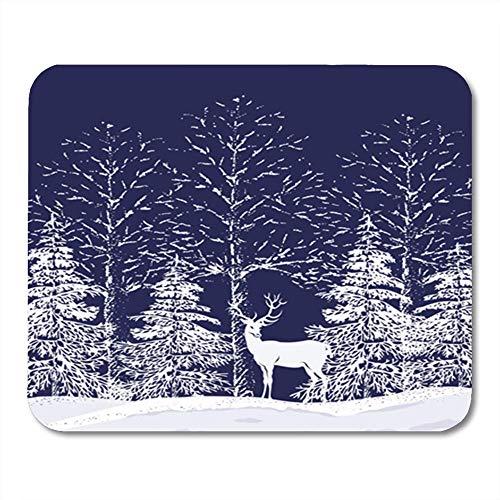 Gaming Mouse Pad Weihnachtssilhouetten von schneebedeckten Bäumen und Tannen im Wald und Rentier auf dunkelblauem Dekor Bürocomputerzubehör Rutschfeste Gummiunterlage Mousepad Mouse Mat