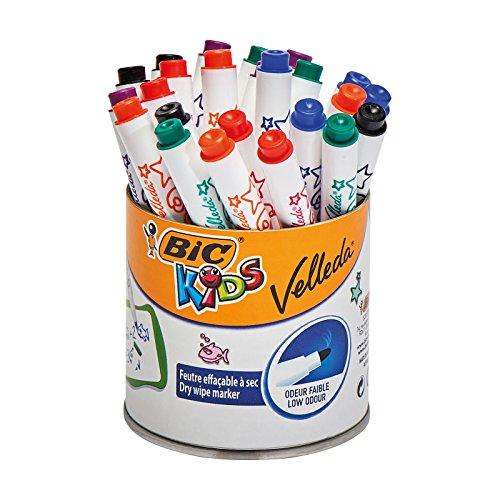 BIC KiDS Mini VELLEDA whiteboard-marker (droog afwisbaar) trommel met 24 stuks