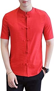 GAGA Men Chinese Style Stand Collar Linen Short Sleeve Button Down Frog Buckle Shirts