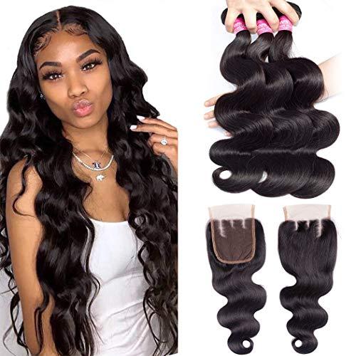 Brazilian Body Wave Bundles with Closure Unprocessed Virgin Human Hair weave 4 Bundles with 4x4 3 Part Lace Closure (22 24 26 28+20) 10A Ocean Wave Human Hair Bundles with Closure Natural black