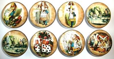 Set of 8 Vintage Alice in Wonderland Dresser Drawer Knobs