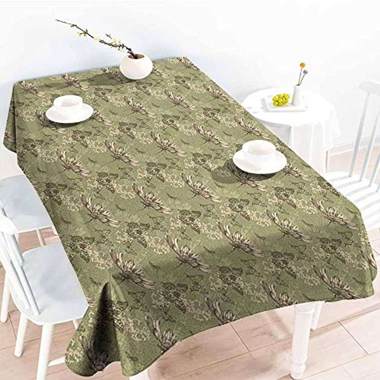 VIVIDX Small Rectangular Tablecloth,Butterfly Hand Drawn Flying Butterflies Abstract Floral Arrangement Vintage Color Palette,Resistant/Spill-Proof/Waterproof Table Cover,W60x120L, Khaki Beige