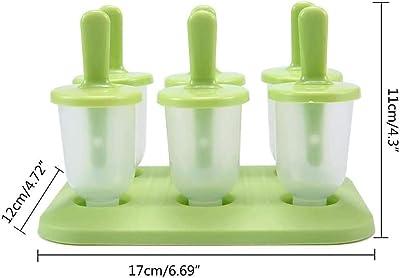 Moldes para Paletas de Silicona, Mini Popsicle Molde de Paletas Set de 6 Congeladores de Hielo