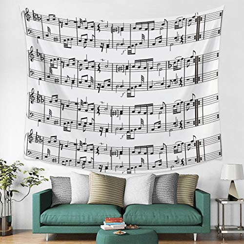 N / A Tapestry home decoration Tab Music Note Black White Wall Decor Bedspread Wall Art Tapestry Blanket Scarf Sheet Towel Throw Decorative Furniture Comfort
