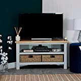 The Furniture Outlet Salisbury Grey Painted Oak Corner Tv Unit with Baskets