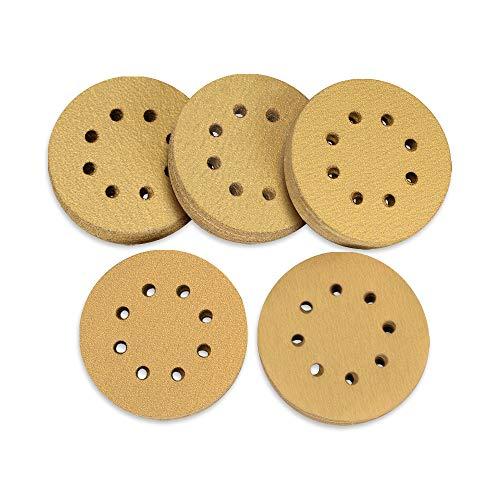 SPTA 125 mm Schleifscheiben, 100 Stück Klett-Schleifpapier mit 60/80/120/150/220 Körnung, 8 Loch zum Exzenter Schleifer