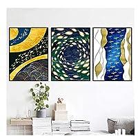 chenjiaxu 北欧の黄金の魚のキャンバスの絵画のポスターとリビングルームの家の装飾のための壁の芸術の写真を印刷-50x70cmx3フレームなし