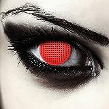 "Designlenses, Dos lentillas de colores rojas para Halloween costume cuadrícula lentes de tres meses sin dioprtías/corregir + gratis caso de lente ""Red Screen'"