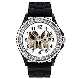Timest - Chiot Beagle - Strass - Montre Femme - Bracelet Silicone Noir Rond Analogique Quartz CSG065