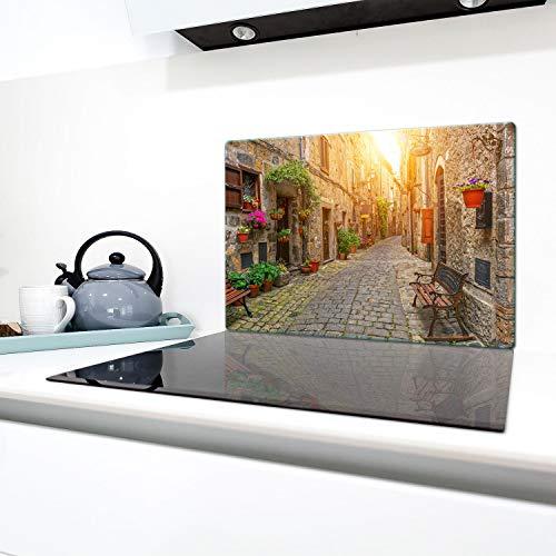QTA - Copri piano cottura 80 x 52 cm copertura per piano cottura in vetroceramica 1 pezzo universale a induzione per piastre di cottura paraspruzzi tagliere in vetro temprato come decorazione Città